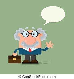 Professor oder Wissenschaftler-Cartoon-Charakter mit Sprachblasen