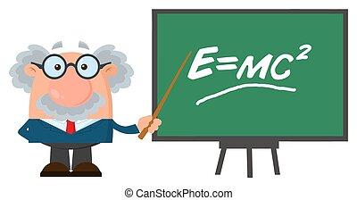 Professor oder Wissenschaftler Cartoon Charakter mit Zeiger präsentiert einstein Formel