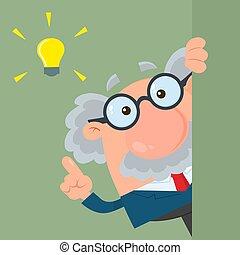 Professor oder Wissenschaftler Zeichentrickfigur, die um die Ecke schaut, mit einer großen Idee