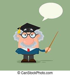 Professor oder Wissenschaftler Zeichentrickfigur mit Absolventenkappe mit einem Zeiger
