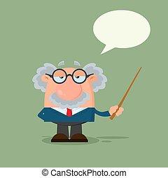 Professor oder Wissenschaftler Zeichentrickfigur mit einem Zeiger mit Sprachblase
