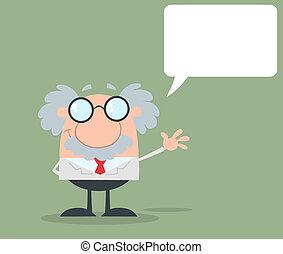 Professor winkt mit Sprachblasen.