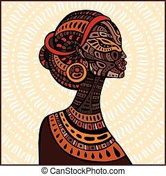 Profil der schönen Afrikanerin.