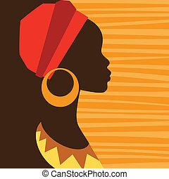 profil, earrings., m�dchen, silhouette, afrikanisch