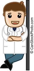 profil, glücklich, vektor, doktor