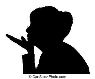 Profil Portrait Silhouette von älteren Damen, die küssen.
