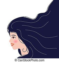 profile., avatar., kopf, brünett, porträt, medien, m�dchen, sozial, woman., europäische