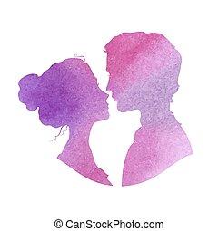 Profile Silhouetten von Mann und Frau, Aquarell Vektor illustra