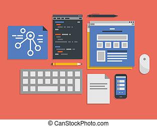 Programmierung und Web-Entwicklungsprozess Illustration