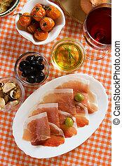 Prosciutto di parma, italian appetizer.