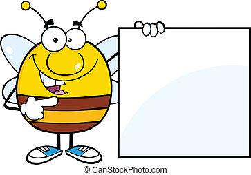 Pudgy Bee zeigt ein leeres Zeichen