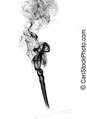 Puff der schwarzen abstrakten Rauchkurven über Weiß.