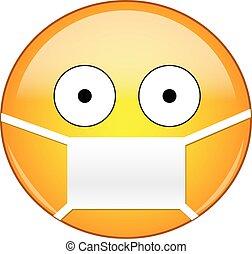 pupillen, emoticon, disease., mask., tragen, breit, klein, maske, augenpaar, emoji, fürchten, keime, gelber , pandemisch, medizin, rgeöffnete, viren, krank