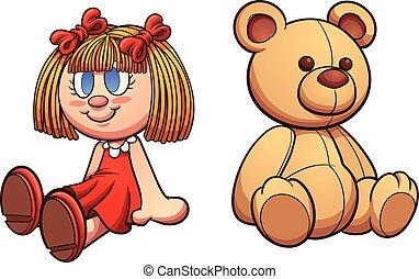 puppe, bär, teddy