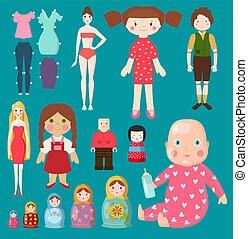 puppe, mädels, menschliche , m�dchen, kleiden, wenig, spielzeug, zeichen, hübsch, puppen, koerper, spielzeug, stil, jungenspiel, baby, rag-doll, schnuller, unterwäsche, kinder, illustration., gesicht, vektor, matryoshka, modell