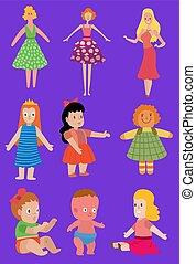 puppe, mädels, menschliche , spielzeuge, m�dchen, kleiden, wenig, spielzeug, zeichen, hübsch, puppen, koerper, jungenspiel, baby, karikatur, rag-doll, schnuller, unterwäsche, kinder, illustration., gesicht, vektor, matryoshka
