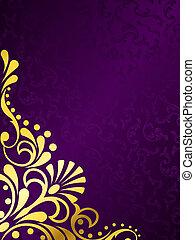 Purer Hintergrund mit goldenem Filigree, vertikal