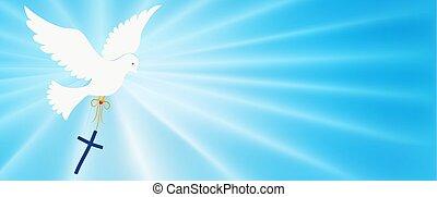 purity., abstrakt, faith., blaues licht, hell, taube, symbol., heilig, christ, hintergrund, evangelization, tragen, symbol, baptism., cross., easter., rays., spirit., fliegendes