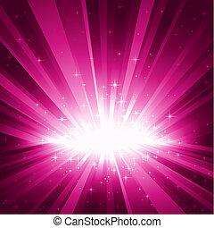 Purple Explosion von Licht und Sternen