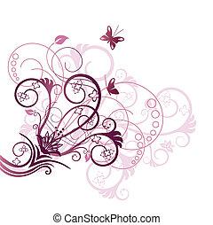 Purple-Floral-Design-Ecke-Element