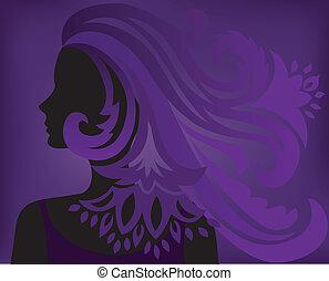 Purple Hintergrund mit einer Silhouette einer Frau