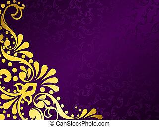 Purple Hintergrund mit Gold Filigree, horizontal