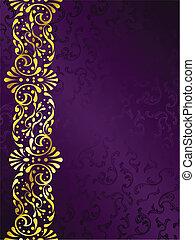 Purpurroter Hintergrund mit goldenem Filigran