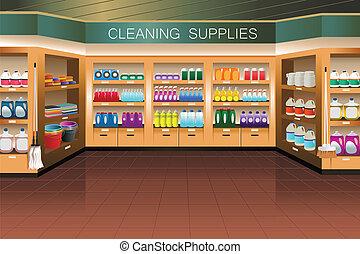 putzen, abschnitt, lebensmittelgeschäft, store:, versorgung