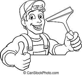 putzen, karikatur, waschen, reiniger, squeegee, auto- fenster