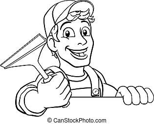 putzen, waschen, fenster reinigungsmittel, karikatur, squeegee, auto