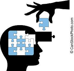 puzzel, person, lernen, verstand, loesung, bildung