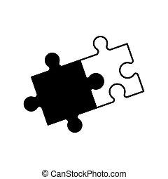 Puzzle Lösung Zusammenarbeit Monochrom.