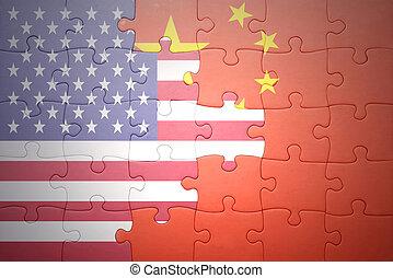 Puzzle mit den nationalen Flaggen der Vereinigten Staaten von Amerika und China