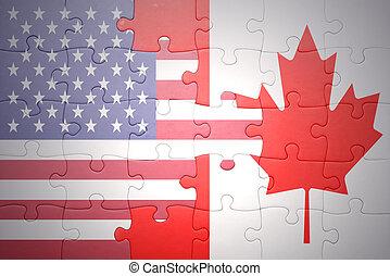 Puzzle mit den nationalen Flaggen der Vereinigten Staaten von Amerika und Kanada