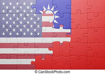 Puzzle mit der nationalen Flagge der Vereinigten Staaten von Amerika und Taiwan