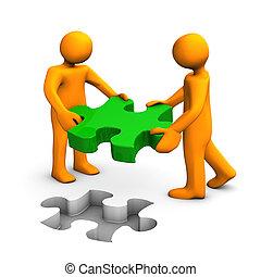 Puzzle-Person, grün orange