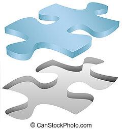 Puzzlestück passt in ein Loch auf weiß