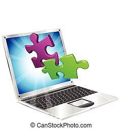Puzzleteile, die aus dem Laptop fliegen