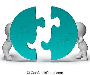 Puzzleteile, die vereint sind, zeigen Teamwork und Zusammengehörigkeit