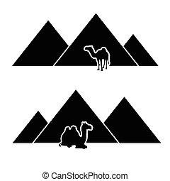 Pyramide mit Kamelvektor.