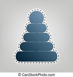 Pyramidenzeichen Illustration. Vector. Blaues Icon mit Umriss zum Ausschneiden im grauen Hintergrund.