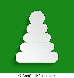 Pyramidenzeichen Illustration. Vector. Papier weinige Ikone mit weichem Schatten auf grünem Hintergrund.