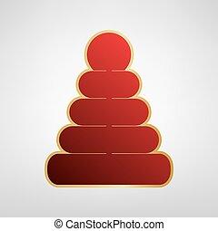 Pyramidenzeichen Illustration. Vector. Rotes Icon auf Goldaufkleber im hellgrauen Hintergrund.