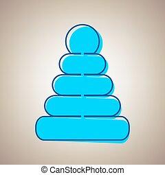 Pyramidenzeichen Illustration. Vector. Sky Blue Icon mit defekter blauer Kontur auf beige Hintergrund.