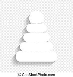 Pyramidenzeichen Illustration. Vector. Weißes Icon mit weichem Schatten auf transparentem Hintergrund.