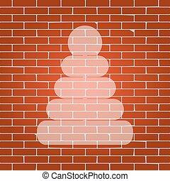 Pyramidenzeichen Illustration. Vector. Whitish Icon auf Backsteinmauer als Hintergrund.
