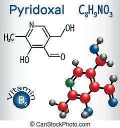 Pyridoxalmolekül, ist ein Vitamin B6. Strukturelle chemische Formel und Molekülmodell.