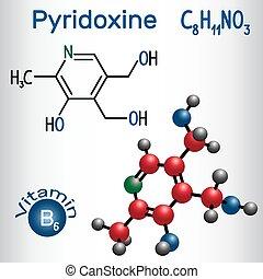 Pyridoxinmolekül, ist ein Vitamin B3. Strukturelle chemische Formel und Molekülmodell.