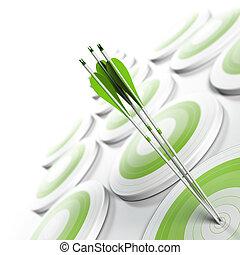 quadrat, effekt, konkurrenzfähig, strategisch, format., ziele, vorteil, concept., drei, vergehen, verwischen, weißes, bild, geschaeftswelt, erreichen, marketing, zentrieren, viele, pfeile, grün, objektiv, oder