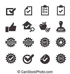 Qualitätskontroll-Icons.